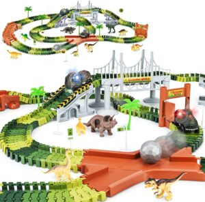 KKONES Dinosaur World Road Race Flexible Track