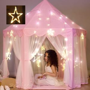 Princess Castle Play Tent with Large Star Lights by Perfectto Design